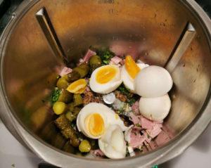 Zutaten Brotaufstrich proteinreich mit Ei und Schinken
